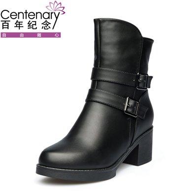 百年纪念新款短靴平底舒适防滑百搭圆头侧拉链女靴粗跟金属扣带女短靴+防水台女鞋子bn/133701