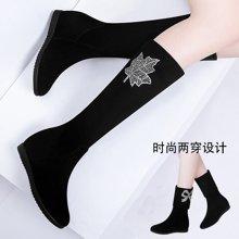 古奇天伦 中筒靴女秋冬季新款百搭中筒靴显瘦弹力靴女高筒平跟中筒靴长筒靴子 TL/8774