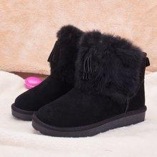 100KM猩猩猴 雪地靴女中筒加厚防滑冬季棉鞋學生真皮棉靴