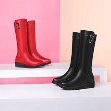 百年纪念新款女靴长靴尖头深口低帮鞋侧拉链细跟女鞋 防水台女鞋子bn1527