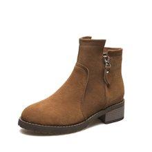 米基靴子女短靴马丁靴女英伦风女鞋秋冬粗跟切尔西裸踝靴NX-RT119