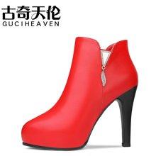 古奇天伦 高跟靴子女秋冬新款圆头纯色女短靴侧拉链细跟女短靴高跟女靴子 TL/8519