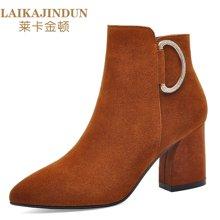 莱卡金顿  尖头粗跟女靴 侧拉链金属装饰女靴 防水台女鞋子LK6364