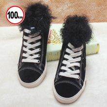 100KM猩猩猴 新款加绒高帮鞋磨砂皮加绒保暖棉鞋纯色平底休闲鞋潮