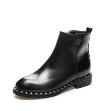 米基靴子女鞋秋冬短靴女平底铆钉英伦风小跟棉皮鞋马丁靴NX-RT121