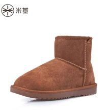 米基雪地靴女短筒靴棉鞋女冬保暖加绒韩版百搭学生真皮厚底女鞋子XD-05