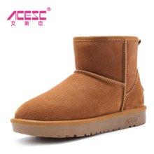 艾斯臣雪地靴女冬季女鞋子短筒靴韩版百搭面包鞋学生保暖加绒棉鞋A13DX5854