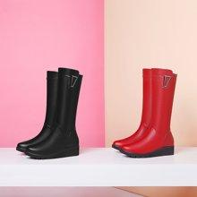 百年纪念新款圆头长靴平跟长靴女靴长靴侧拉链长靴金属装饰长筒靴防水台长靴女鞋bn/1527