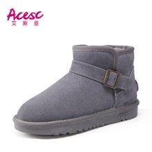 艾斯臣雪地靴女短筒冬季短靴韩版百搭学生保暖加绒棉鞋面包女鞋子A13DX5857