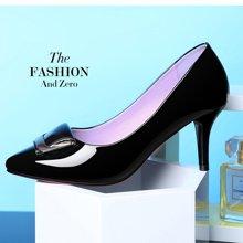 百年纪念 新款高跟鞋优雅高跟鞋女鞋尖头镜面高跟鞋带跟女鞋低帮鞋浅口高跟鞋套脚细跟高跟鞋女单鞋高跟鞋女鞋子 bn/1360