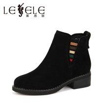 LESELE/莱思丽女靴冬季新款牛绒粗跟短靴 圆头加绒中跟靴短筒女HAE71-LD3049