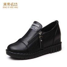 东帝名坊2018新款单鞋 圆头拉链套脚时尚潮流小皮鞋深口舒适女鞋 D67TH006
