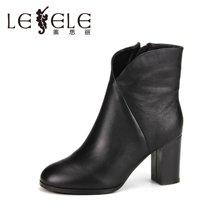 LESELE/萊思麗冬季新款黑色牛皮加絨女靴子 圓頭簡約粗高跟短靴VSH71-LD8153