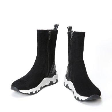 百田森 PYQ17847 冬季韩版中筒靴厚底时尚潮休闲女靴子