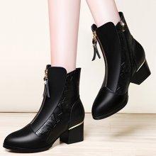 莱卡金顿 2018新品女靴马丁靴时?#34892;?#38386;短靴舒?#21490;?#36319;圆头时装靴潮流女中筒靴LK/6396