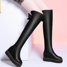 莱卡金顿 鞋子女2018春季新款长靴女过膝百搭内增高靴子女高筒厚底长筒靴LK/6394