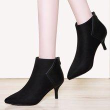 莱卡金顿 女靴2018新款春秋短靴女细跟高跟裸靴踝靴马丁靴英伦加绒皮靴春款靴子LK/6358-1