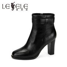 LESELE/萊思麗冬季新款簡約蝴蝶牛皮女短靴 圓頭粗高跟拉鏈短靴KE71-LD3240