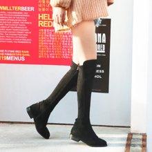 米基冬季骑士靴韩版过膝粗跟圆头骑士靴侧拉链后跟扣高筒靴子NX-68