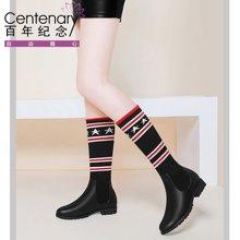 百年纪念新款冬靴长靴防水台过膝靴平底舒适百搭圆头平跟长靴套筒过膝女靴防水台女鞋子bn1565