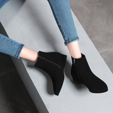金絲兔金絲兔加絨短靴女秋冬保暖踝靴內增高休閑鞋女百搭舒適平底女