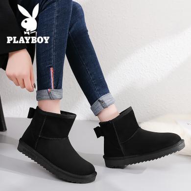 花花公子女鞋2018雪地靴女短靴子平底冬季保暖加絨厚底圓頭J163750523