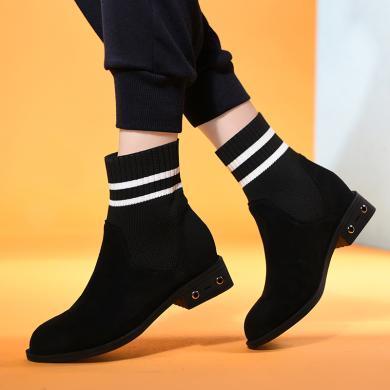 金絲兔時尚襪靴女鞋子新款韓版彈力針織透氣短靴百搭休閑圓頭女靴子