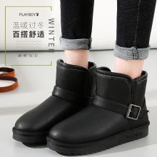 花花公子女鞋2018冬季新款雪地靴女鞋加厚加絨保暖平底短筒裸及踝靴子J151750571