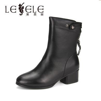 LESELE/萊思麗冬季新款圓頭中粗跟鞋 后拉鏈時尚百搭短靴女鞋QEH81-LD6339