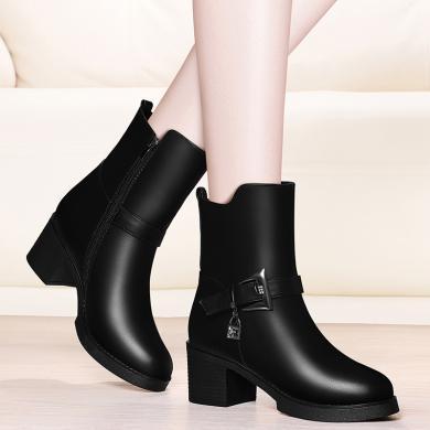 金?#23458;?#39532;丁靴女粗跟冬季新款加绒防水台短靴英伦风百搭中筒靴瘦瘦靴