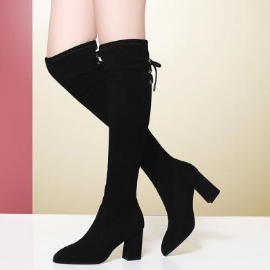 金絲兔秋冬過膝長靴女顯瘦彈力布靴高跟高筒靴中粗跟絨面長筒靴子