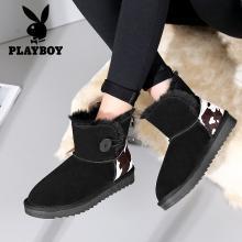 花花公子女鞋2018冬季新款厚底雪地靴学生保暖加绒短靴百搭平底鞋J138750714