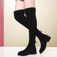 金絲兔長靴女過膝靴加絨新款高筒平底襪靴長筒靴彈力靴秋冬季靴子女