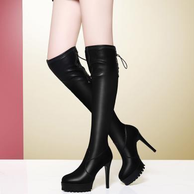 金?#23458;?#38889;版高跟过漆靴女秋季过膝修身显瘦弹力长靴粗跟高筒女靴