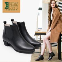 路施南 2018秋冬季新款英倫短靴女中跟及踝靴一腳蹬切爾西靴女粗跟馬丁靴女