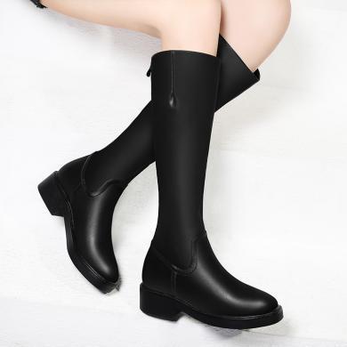 金丝兔马丁靴女秋季新款机车靴中筒鞋子欧美厚底百搭帅气女靴冬