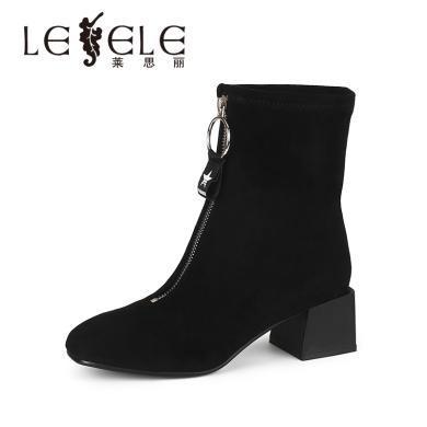 LESELE/萊思麗冬季新品舒適彈力絨女靴 簡約高跟方跟中筒靴女QEH81-LD4492