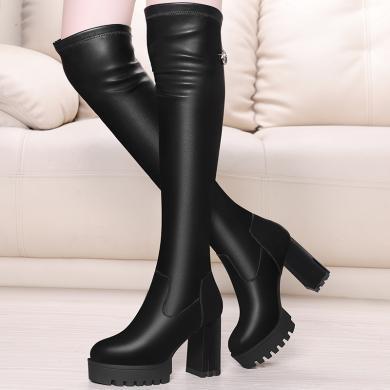 金絲兔韓版秋冬加絨高筒騎士靴彈力過膝長靴長筒靴粗跟高跟女單靴子