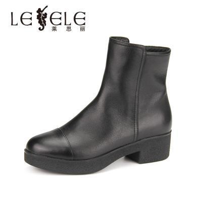 LESELE/萊思麗冬季新款牛皮加絨女鞋 圓頭簡約中跟方跟短靴女KE81-LD0413