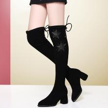 金絲兔粗跟高跟鞋靴過膝靴單靴