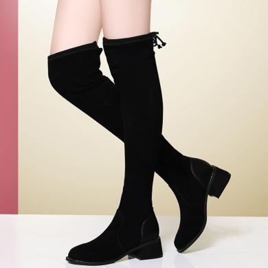 金?#23458;门?#26032;款靴子女长筒过膝长靴