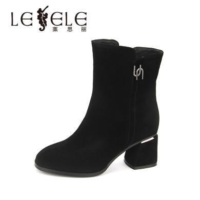 LESELE/萊思麗冬季新款高跟加絨女靴 圓頭水鉆羊絨粗跟短靴女HAE81-LD4919