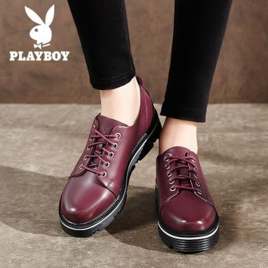 花花公子女鞋復古松糕鞋女厚底小皮鞋百搭英倫風單鞋N160730461a