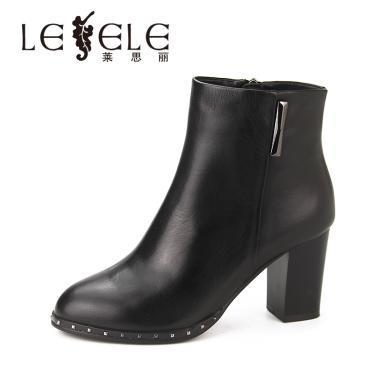 LESELE/萊思麗冬季新款拉鏈短筒女靴 牛皮圓頭鞋女粗高跟短靴KE81-LD4842