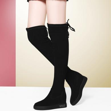 金絲兔新款彈力長筒靴女過膝靴子