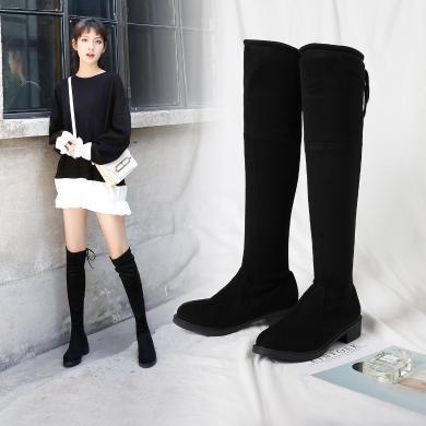 【爆款顯瘦利器】阿么過膝靴子女2020冬款小個子長靴瘦腿長筒彈力靴網紅瘦瘦靴平底