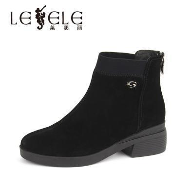 LESELE/萊思麗冬季新款高跟職業女靴 加絨牛猄粗跟黑色短靴女KE81-LD4953