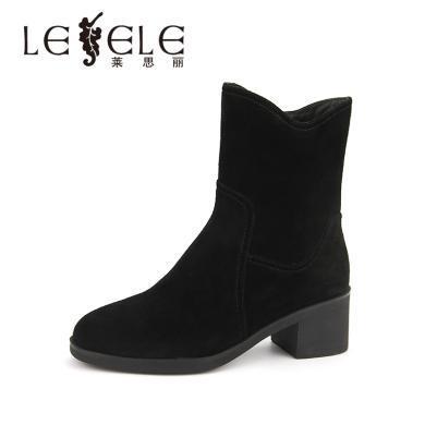 LESELE/萊思麗冬季新款高跟加絨職業女靴 圓頭牛猄粗跟短靴女KE81-LD4900