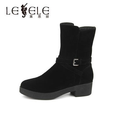 LESELE/萊思麗冬季新款高跟職業女靴 圓頭加絨牛猄方跟短靴女KE81-LD0420