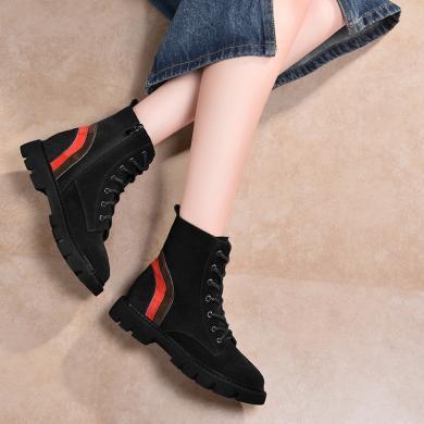 金絲兔女鞋女靴子冬真皮機車短靴